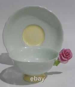Rare PARAGON ROSE FLOWER HANDLE CUP & SAUCER Green Colorway c1938-52 As Found