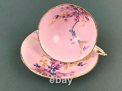 Rare VTG Paragon Mary & Queen Plum Blossom Pink Footed Tea Cup Saucer Gold Trim
