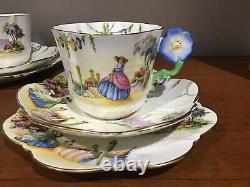 Rare Venetian Lady Flower Handle Aynsley Trio Cup Saucer Plate