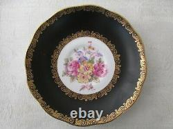 Rare Vintage Royal Albert Black Gold & Floral Trio Footed Cup Saucer Plate 1097