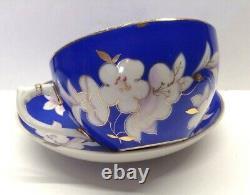 Rare Vtg Tea Cup&Saucer Russian porcelain Apple blossom 1959 Dulevo USSR