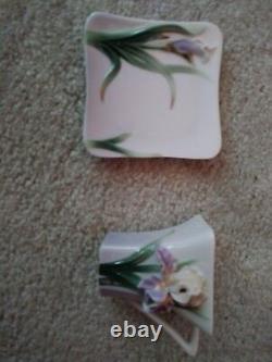 Reduced. Franz Porcelain Iris Flower- Cup, Saucer Set FZ00819