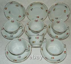 Retired Noritake Chintz Tea Cup & Saucer 14 Pc. Set Pink Purple Flowers Gold