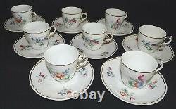 Richard Ginori Italy Set of 8 Demitasse Cups & Saucers Dresden Flower Design