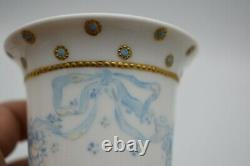 Rosenthal Empire Handle Cup & Saucer Blue & Gold Dots Flowers Bows