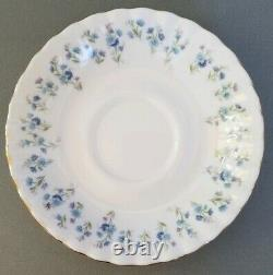 Royal Albert Memory Lane Set Of 11 (+1) Footed Cups & Saucers Blue Flowers Exc