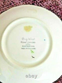 Royal Stafford Blue Dogwood Flowers Gold Footed England Bone Tea Cup and Saucer