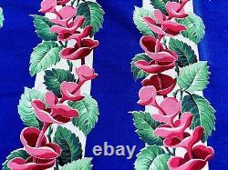 SALE! Mandarin Hat Floral Barkcloth Vintage Fabric Remnant Cup & Saucer Flowers
