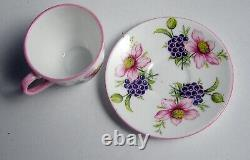 SHELLEY England Miniature Porcelain Tea Cup & Saucer FLOWERS & BERRIES EXC