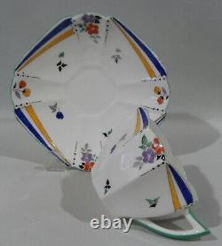 SHELLEY FLASHES AND FLOWERS CUP & SAUCER Art Deco Queen Anne Shape Exc Cond