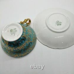 STANLEY England Tea Cup Saucer Fine Bone China Turquoise Violet Flower Gold Trim
