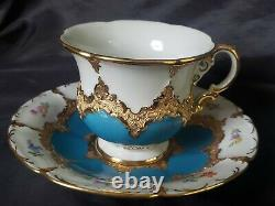 STUNNING MEISSEN PORCELAIN CUP & SAUCER Painted Flowers & GOLD Gilt TURQUOISE