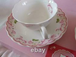 Sanrio Hello Kitty Tea Cup Saucer Flower Pink & Green Made in Japan