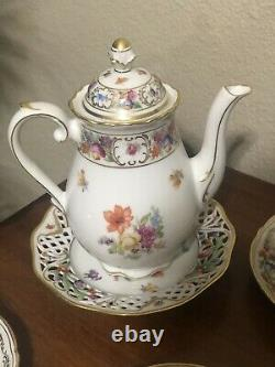 Schumann Bavaria Empress Dresden Flowers Coffee Pot with 4 cups and Saucers