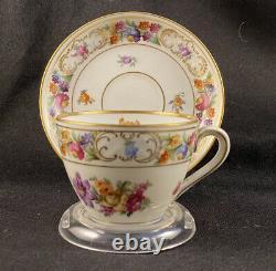 Schumann Empress Dresden Flowers Coffee Pot Sugar Bowl Creamer Tea Cups Saucers