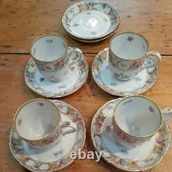 Schumann Germany Empress Dresden Flowers Demitasse Cup & Saucers Set 4 + extra
