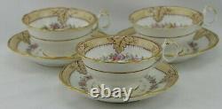 Set 3 John Ridgway 1830's Roccoco Revival Cups Saucers Flower Garland