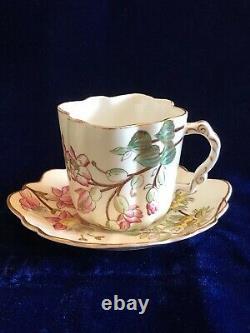 Set Antique Continental Fuchsia Flower Tea Cups & Saucers Cream Pitcher & Sugar
