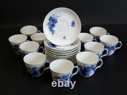 Set of 11 Royal Copenhagen Blue Flowers Mocha Demitasse Cup and Saucers #10/15