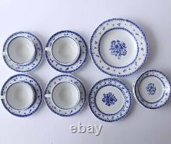 Set of 16 Mid Century Vintage Arabia Finland FINN FLOWER Blue Cups Saucers Bowls