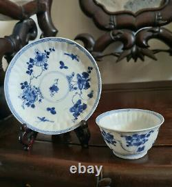 Set of Shipwreck Qing Kangxi blue and white cup/saucers (flower)