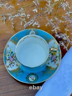 Sevres Antique large Chocolate Cup and Saucer Fabulous Decor Flowers