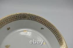 Sevres French Porcelain Gold Flowers Laurels Full Size Tea Cup & Saucer 1848