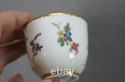 Sevres Hand Painted Ambrose Michel Floral & Gold Demitasse Cup & Saucer C1773 B