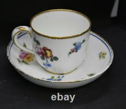 Sevres Porcelain Tea Cup & Saucer 1780's France Flowers Blue Band Gold Trim