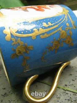 Sevres Porcelaine Cup/saucer C. 1846 Blue Celeste Louis Philippe Cherubs Flowers