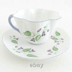 Shelley Campanula Dainty Shape Fine Porcelain Cup & Saucer White Purple Flowers