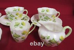 Shelley Celandine Flower Tea Cup, Saucer, Plates, Creamer 12 Pieces MINT