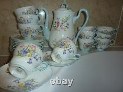 Shelley China Wild Flowers Pattern 13668 Coffee Or Tea Pot, 12 Saucers & 11 Cups