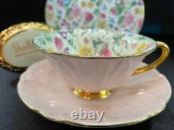 Shelley Countryside Chintz Oleander Cup, Saucer And 6 Plate #13700 Gold Trim