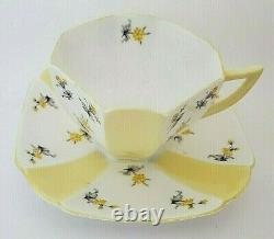 Shelley Countryside Queen Anne White Yellow Panel Flowers Cup & Saucer RARE