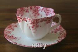 Shelley Dainty Pink Teacup Tea Cup Saucer daisies flowers bone china England