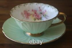 Shelley Green Oleander gold teacup tea cup saucer maytime pink blossom flowers