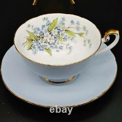 Shelley Light Blue Floral Flower Rose Tea Cup & Saucer England Forget-me-nots