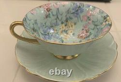 Shelley Melody Chintz Light Green Oleander Tea Cup Pink Flowers with Saucer