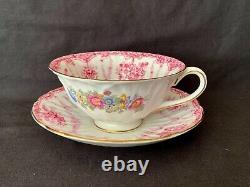 Shelley Oleander Pink Baskets Of Flowers, Festoons & Pompadour Tea Cup & Saucer