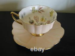 Shelley Peach Flower Garden Pedestal Tea Cup And Saucer