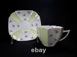 Shelley Queen Anne Yellow & White with Pink Flowers Pyrethrum Cup & Saucer