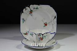 Shelley STYLISED FLOWERS DECO TRIO-Tea Cup Saucer Plate 11630 Queen Anne Shape#