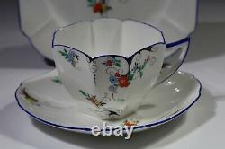 Shelley STYLISED FLOWERS DECO TRIO-Tea Cup Saucer Plate 11630 Queen Anne Shape