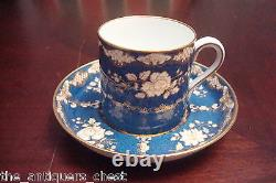 Spode/Copeland for Tiffany and Co gilt blue & flowers 6 cups/saucers 46