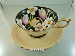 Spring Bouquet Flowers Black footedTea Cup & Saucer set by Paragon England