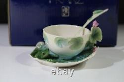 Stunning Rare Collectable Franz Cup & Saucer With Spoon Waterlily Amphibia