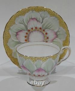 Stunning TUSCAN LOTUS FLOWER Cup & Saucer Hand Painted & Enamelled 1940-50s MINT