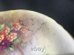 Superb Royal Worcester Hand Painted Flowers Cup & Saucer Signed By E barker