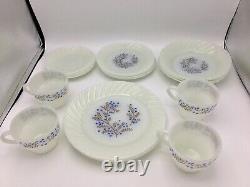 Termocrisa Milk Glass Blue Flowers Plates Cups Saucers Bowls Dessert Dish Mexico